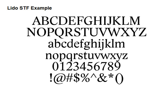 Lower Case Letters Lido STF Font